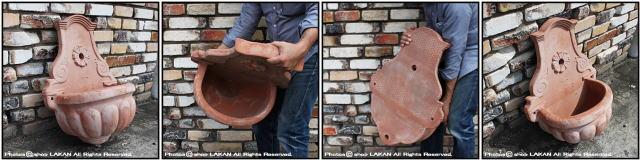 素焼き 壁泉 オブジェ イタルガーデン テラコッタ製 ガーデン置物 噴水 花鉢 壁掛け鉢 稀有