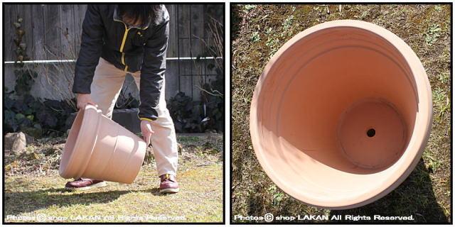 デローマ社 リムポットホワイト42 輸入植木鉢 トスカーナ 大型テラコッタ鉢 素焼き陶器鉢