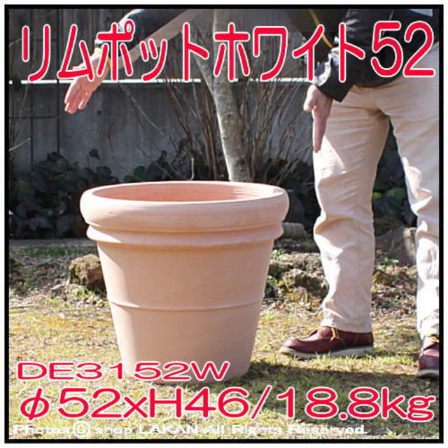 素焼き陶器鉢 リムポットホワイト52 輸入植木鉢 トスカーナ デローマ社 大型テラコッタ鉢