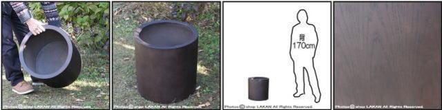 温かい木質 MOKU Woody Finish シリンダー 木目が美しい 樹脂製鉢 室内専用の鉢カバー 木の質感 円柱型