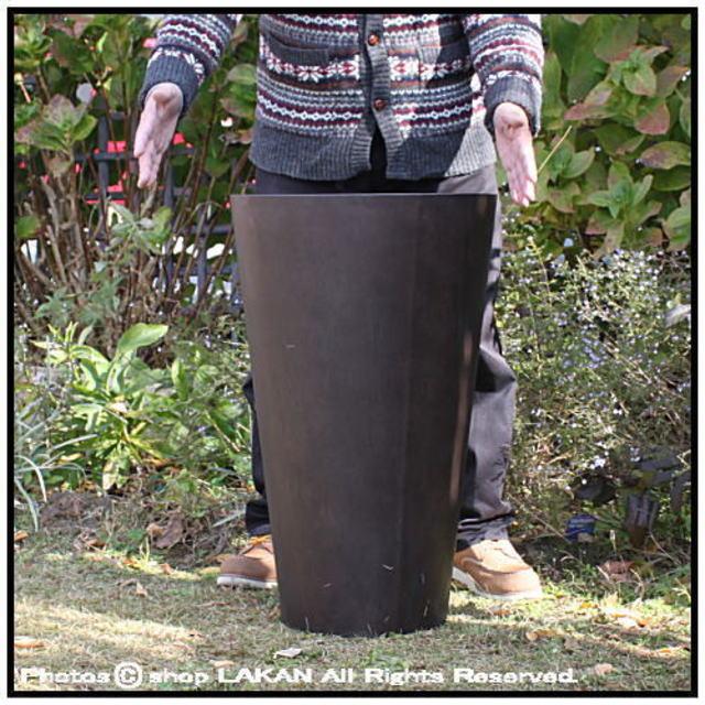 MOKU 背高 コニック 樹脂製鉢 温かい木質 木目が美しい ラウンド 円柱 Woody Finish 上品