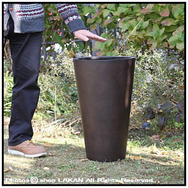 樹脂製鉢 温かい木質 木目が美しい ラウンド MOKU 背高 コニック 円柱 Woody Finish 上品