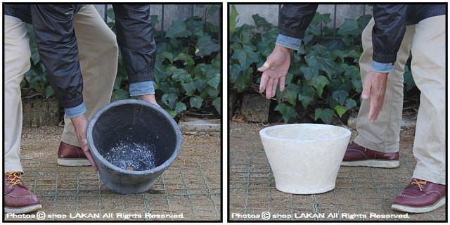 シャロー アンティーク仕上 自然な風合い 古代仕上げ 軽量コンクリート フォリオ 輸入植木鉢