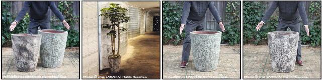 レア感 ボルカーノ 重厚感 釉薬付陶器鉢 輸入植木鉢 Sコニック アンティーク仕上