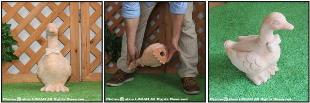 オブジェ テラコッタ ガーデン 素焼き オーナメント 動物 あひる 撥水処理 置物 陶器製