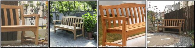 ジャティベンチ1500 ミャンマー ガーデン家具 チーク 軽量 背付 長椅子