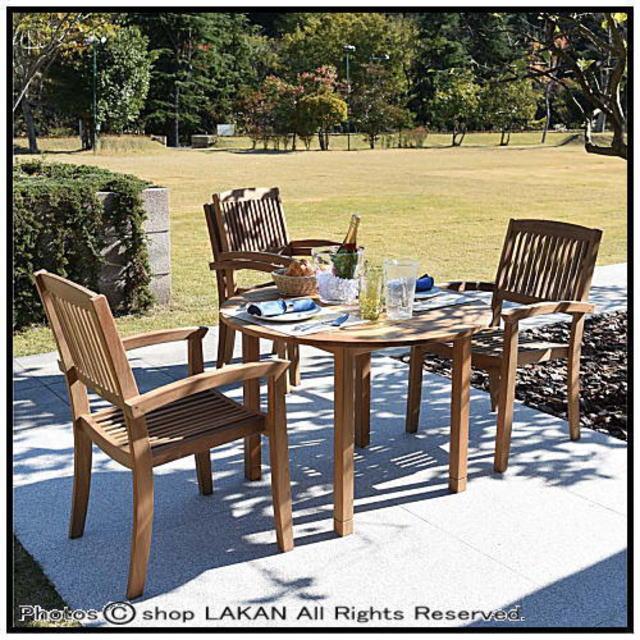 ジャティダイニングテーブル1000 ミャンマー ニチエス ガーデン家具 チーク 丸型食卓 大型