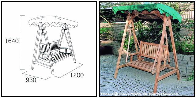 天然チーク製 ガーデン家具 ミニスィング ラブベンチ