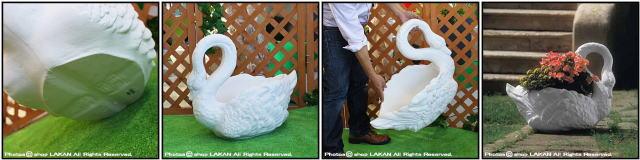 輸入樹脂植木鉢 ガーデンオブジェ 人気 ユーロ3社 スワン 大型樹脂鉢 アニマルプランター 動物モチーフ付花鉢