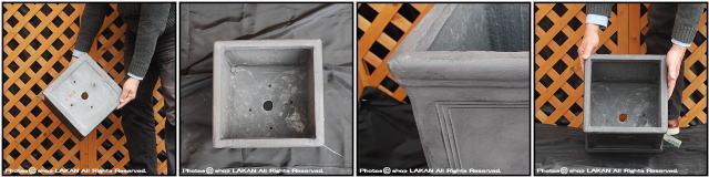 シンプル 正角型鉢 ファイバークレイ製