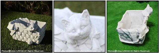 石造 かごに入った子猫 ガーデンオブジェ 洋風ガーデン TE0461 動物 レリーフ 置物