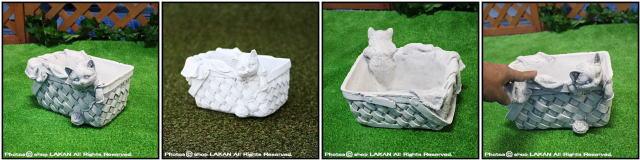 洋風ガーデン 動物 TE0461 石造 ガーデンオブジェ かごに入った子猫 置物 レリーフ