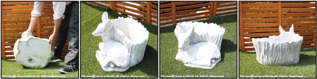 鉢付 動物 置物 洋風 彫像