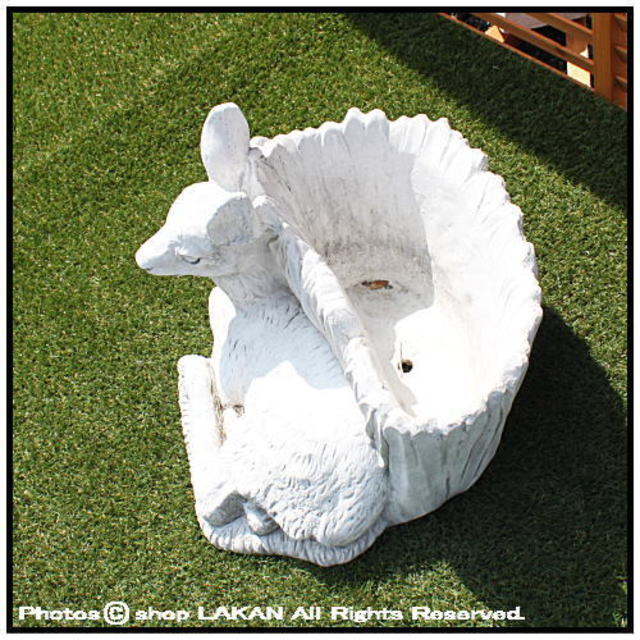 動物像 鉢付 小鹿 洋風ガーデン