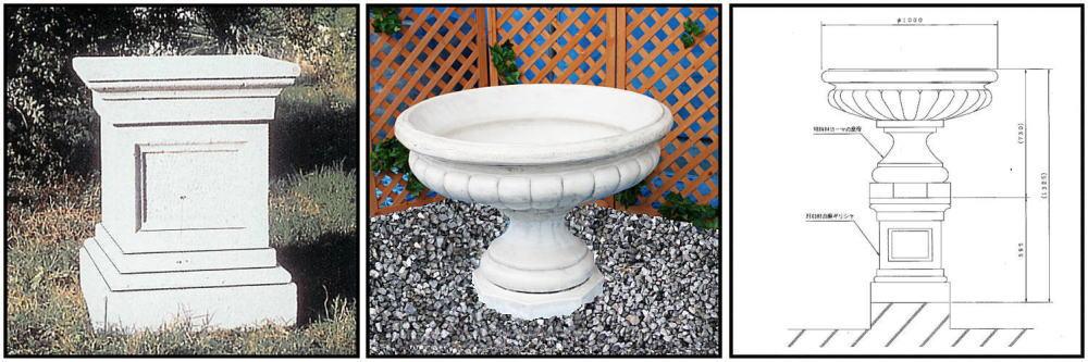 彫刻 プランター 石造 花鉢 洋風 大型