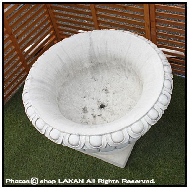 イタリア輸入鉢 格調ある 花模様花鉢 石造花鉢