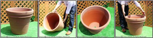 ハンドメイド 高級テラコッタ 輸入植木鉢 トスカーナ 大型植木鉢 プレーンダブルリムポット 人気無地柄 イタリアンテラコッタ