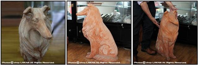 ガーデンオブジェ イタリア製 老舗テラコッタメーカー ヴァセリエ トスカーナ 動物置物 コリー犬 陶器オブジェ 番犬